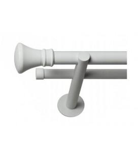 Dvojitá 19mm biela leskla koncovka Koloseo