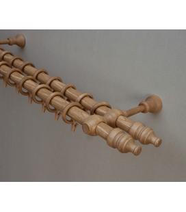 Garnýž dřevěná dvojitá Ø28mm dub