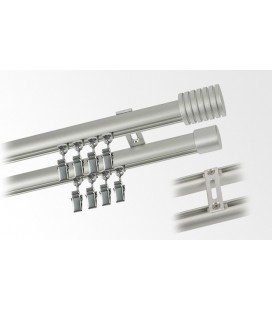 Garnýž dvojitá hliníkový profil INOX koncovka 6 Frez
